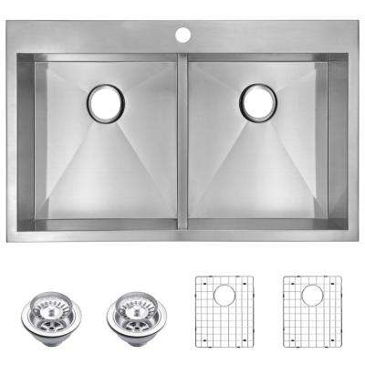 Drop-In Zero Radius Stainless Steel 33 in. 1-Hole Double Bowl Kitchen Sink with Strainer and Grid in Satin