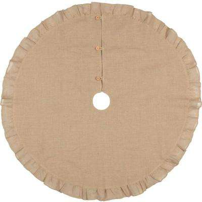 48 in. Jute Burlap Natural Tan Holiday Rustic and Lodge Decor Tree Skirt