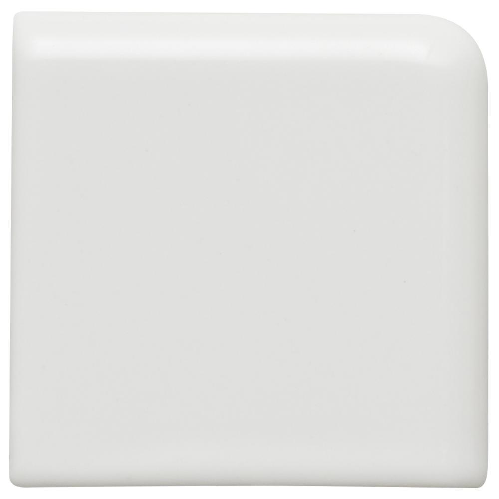 Restore Bright White 2 in. x 2 in. Ceramic Bullnose Corner Wall Trim Tile (0.02 sq. ft. / Piece)