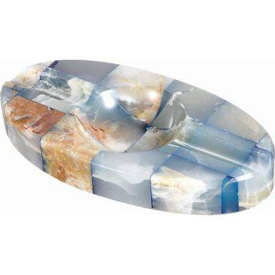 Azure Onyx Oval Cigar Ashtray with 2-Cigar Rests