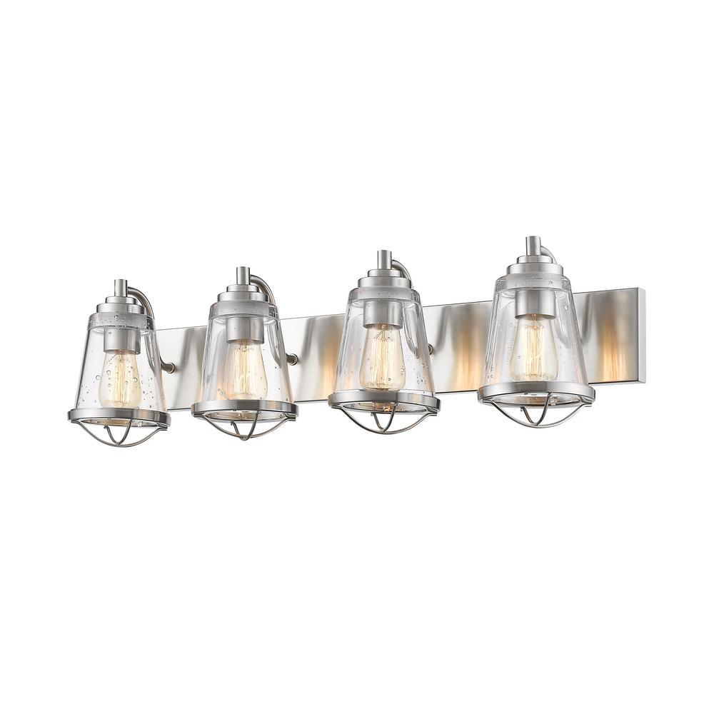 Lorinda 4-Light Brushed Nickel Bath Light with Clear Seedy Glass Shade