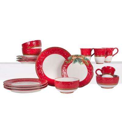Yuletide Holiday 16-Piece Dinnerware Set (Service For 4)
