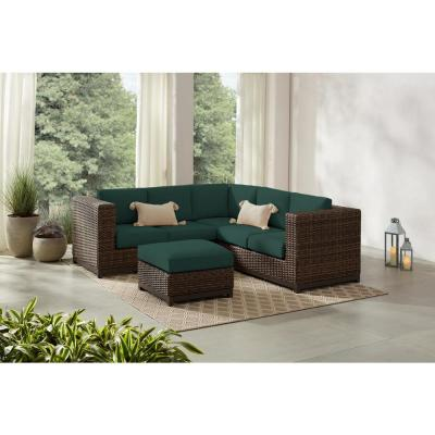 Fernlake 4-Piece Taupe Wicker Outdoor Patio Sectional Sofa with CushionGuard Charleston Blue-Green Cushions