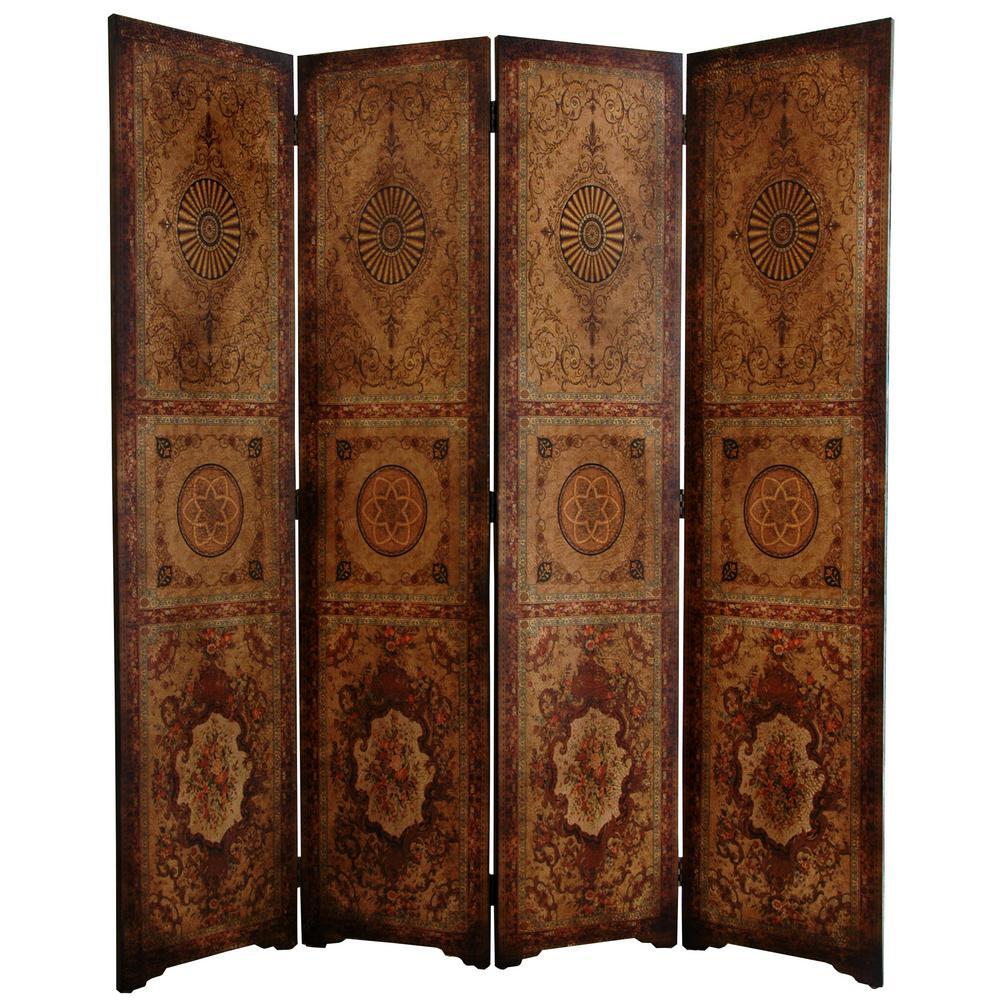 6 ft. Brown 4-Panel Parlor Room Divider