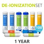 Express Water – 1 Year Deionization Reverse Osmosis System Replacement Filter Set – 10 Filters with 100 GPD RO Membrane