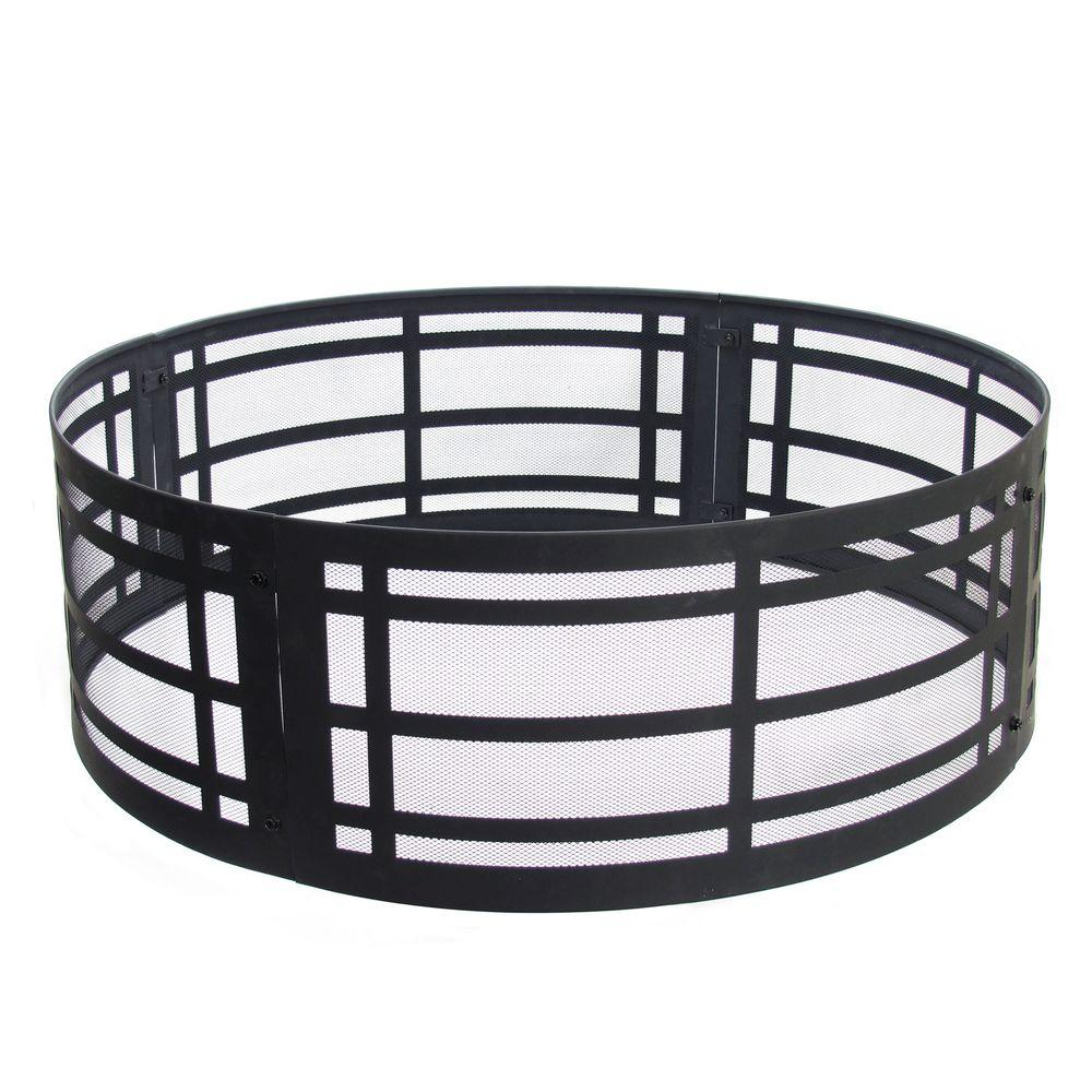 Pleasant Hearth Classic 36 in. x 12 in. Round Steel Wood Fire Ring in Black