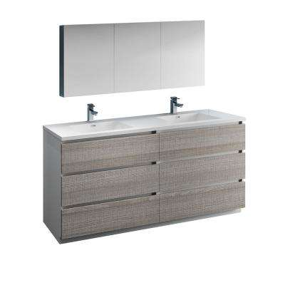 Lazzaro 72 in. Modern Double Bathroom Vanity in Glossy Ash Gray Vanity Top in White with White Basins, Medicine Cabinet
