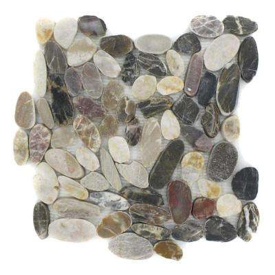 Pebble Rock Flat Crue 12 in. x 12 in. Marble Floor and Wall Tile