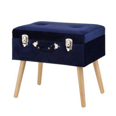 19.70 in. L Navy Blue Velvet Upholstered Storage Stool with Natural Solid Rubberwood Legs
