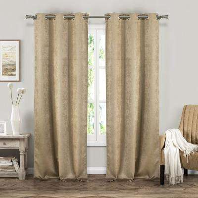 Suzanne 37 in. W x 84 in. L Polyester Window Panel in Taupe