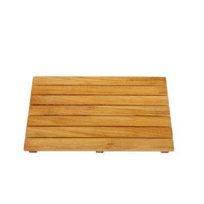 24 in. W Bathroom Shower Mat in Natural Teak