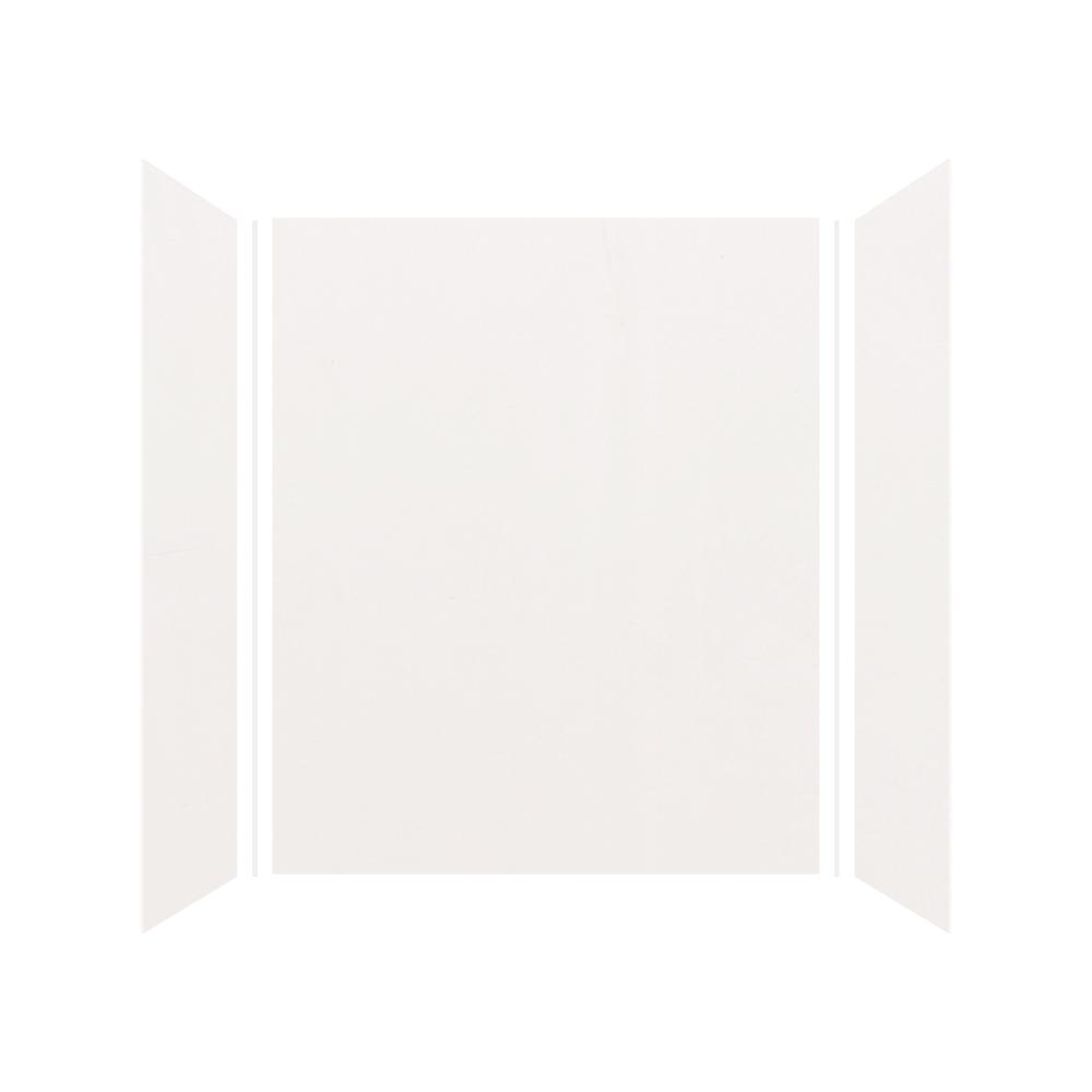 Transolid Expressions 32 in. x 60 in. x 72 in. 3-Piece Easy Up Adhesive Alcove Shower Wall Surround in White