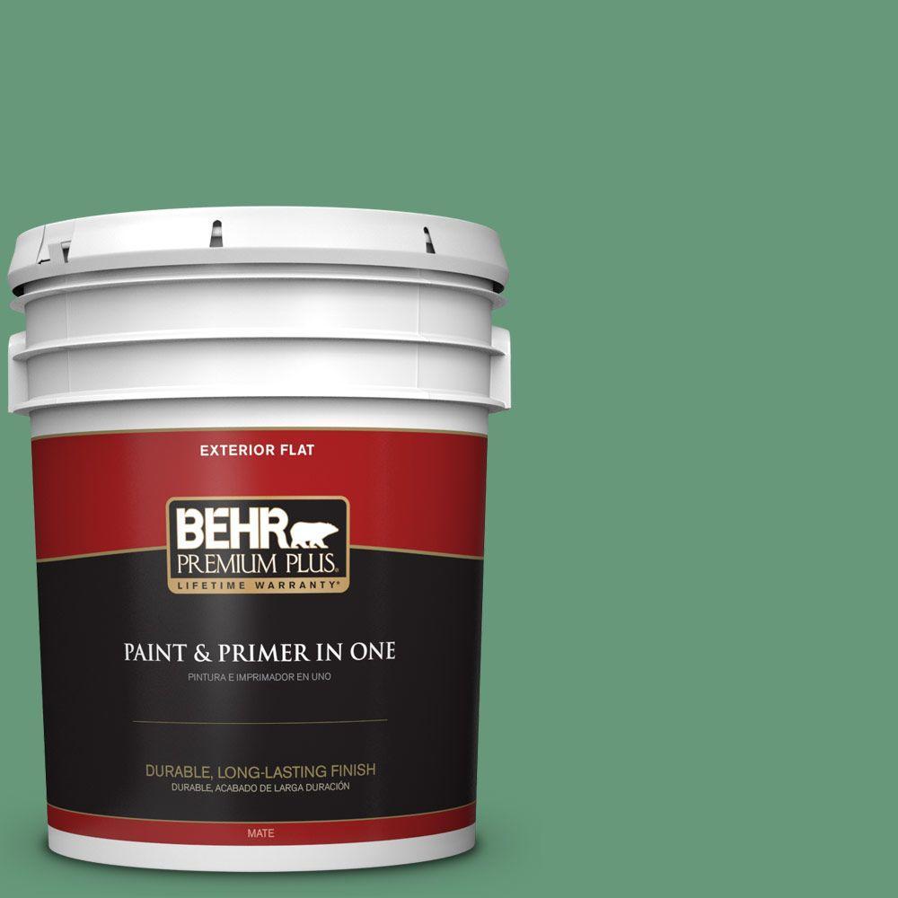 BEHR Premium Plus 5-gal. #470D-5 Herbal Flat Exterior Paint, Greens