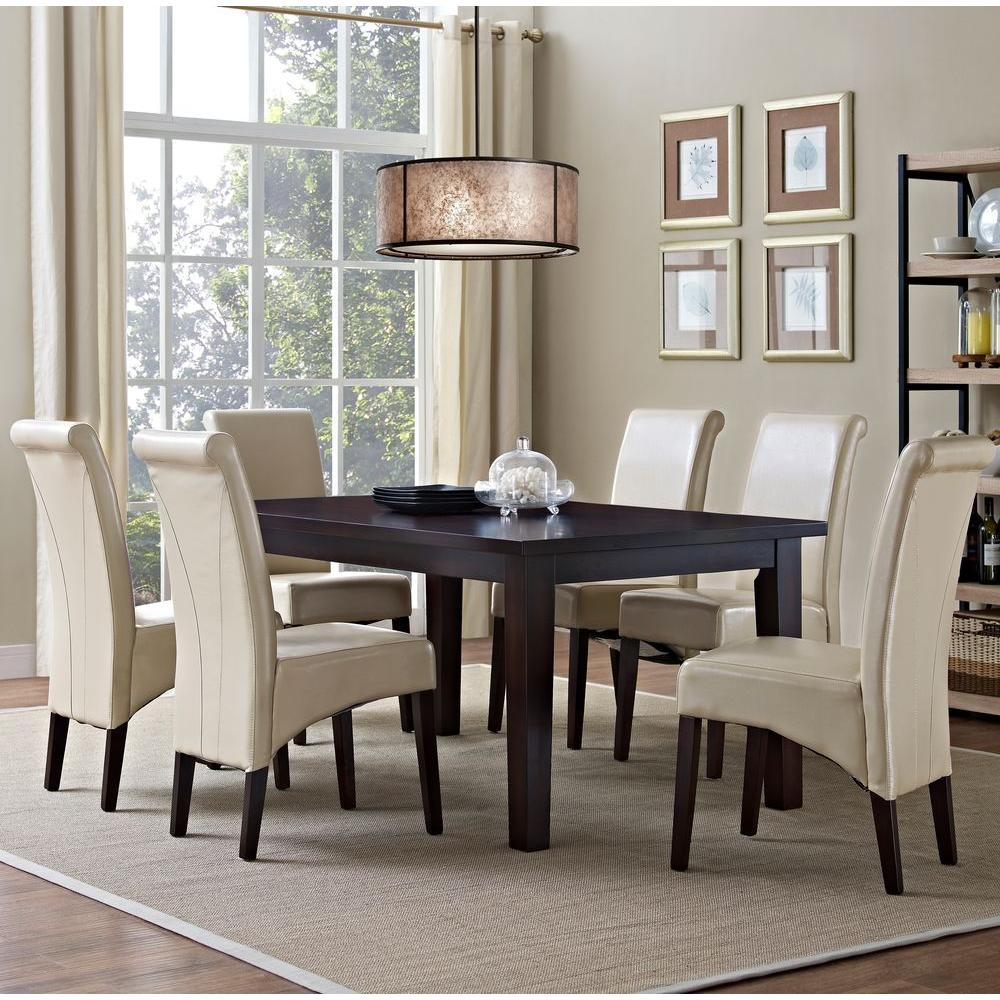 simpli home avalon 7 piece satin cream dining set axcds7 avl cr the home depot. Black Bedroom Furniture Sets. Home Design Ideas