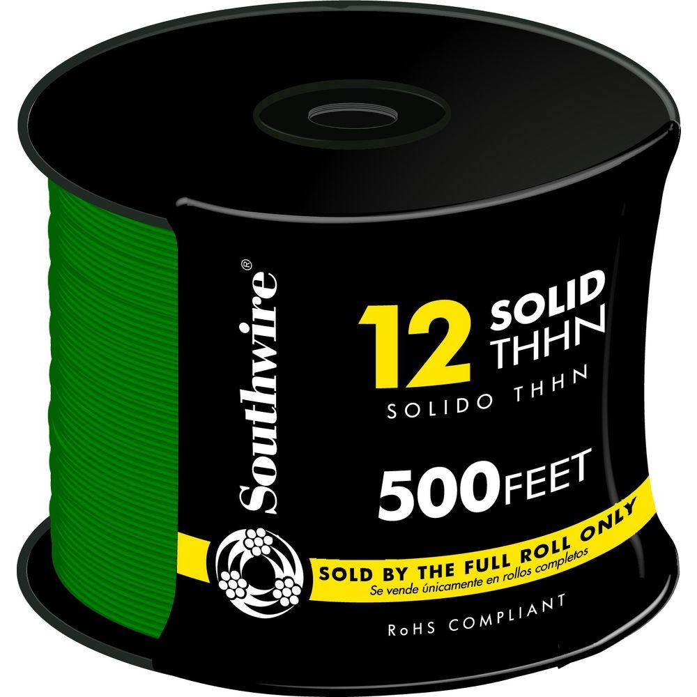 Southwire 500 ft. 12 Green Solid CU THHN Wire-11591558 - The Home Depot