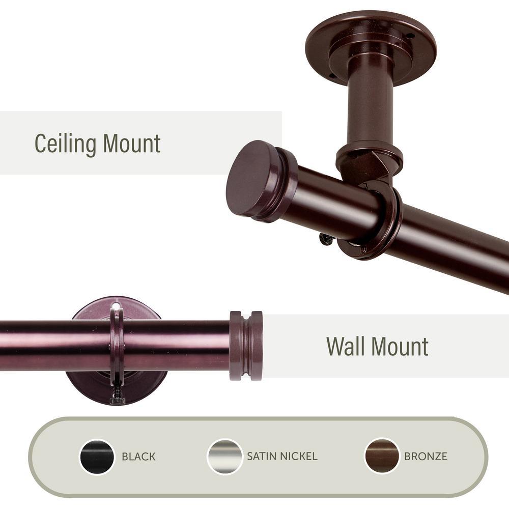 Bun Ceiling 66 in. - 120 in., 1 in. Dia Curtain Rod/ Room Divider in Bronze