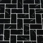 Nero Marquina Herringbone 11.81 in. x 11.61 in. x 8mm Textured Glass Mesh-Mounted Mosaic Wall Tile (9.5 sq. ft. / case)