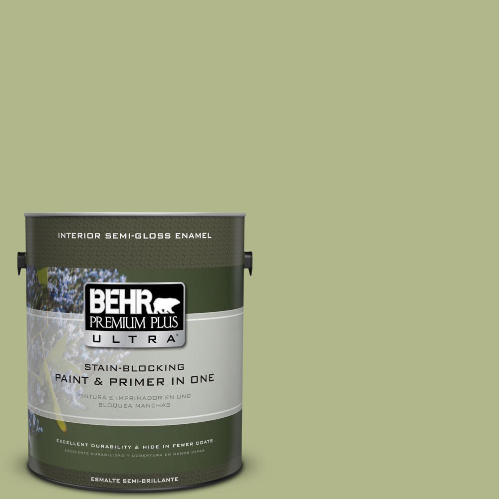 BEHR Premium Plus Ultra 1-gal. #M350-4 Sweet Grass Semi-Gloss Enamel Interior Paint