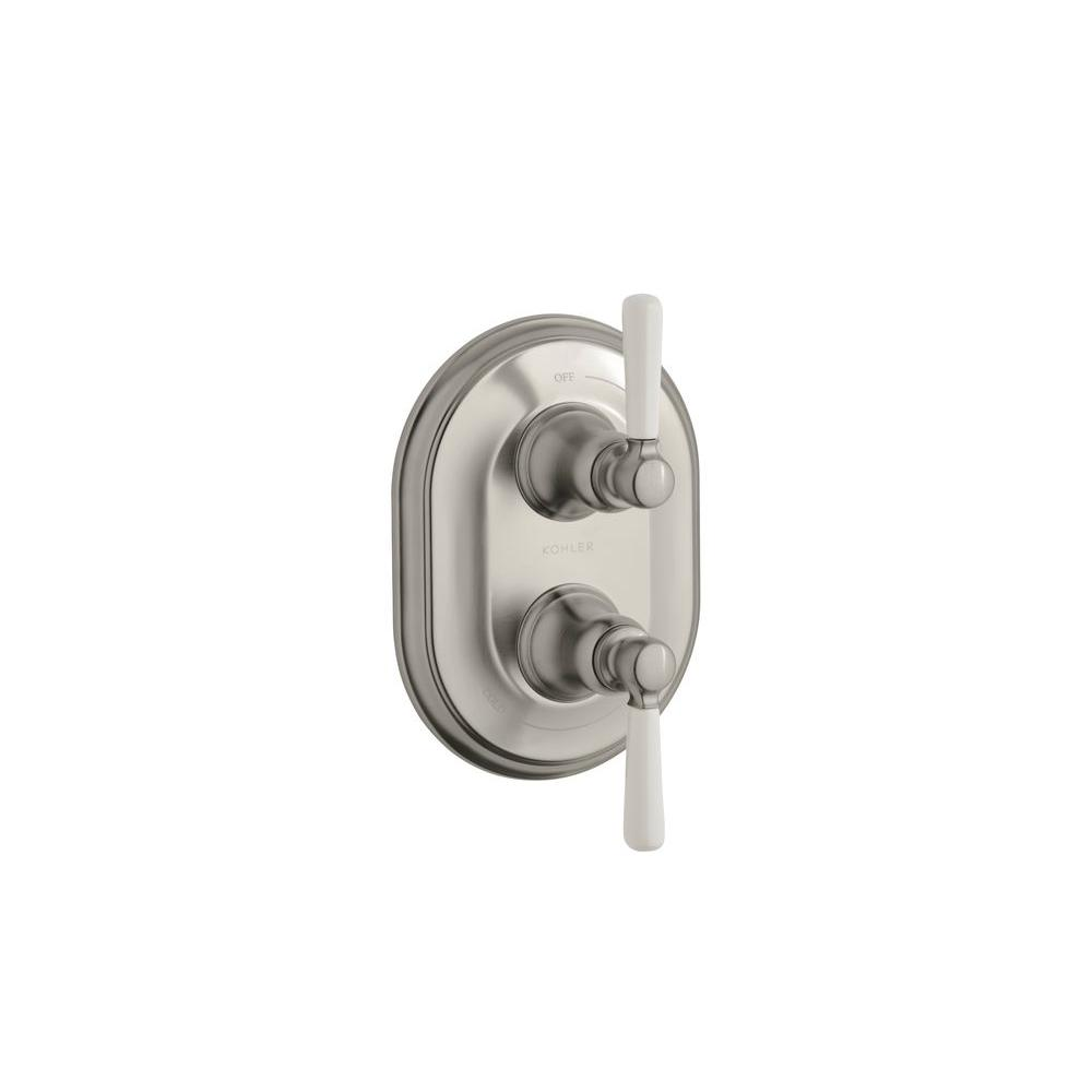 KOHLER Bancroft 2-Handle Thermostatic Valve Trim Kit in Vibrant Brushed Nickel with Ceramic Lever Handle (Valve Not Included)