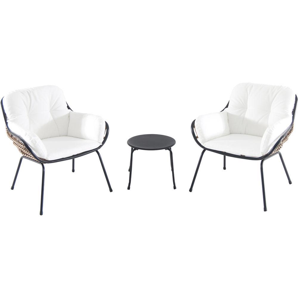 Hanover Naya 3 Piece Wicker Conversation Set With White Cushions