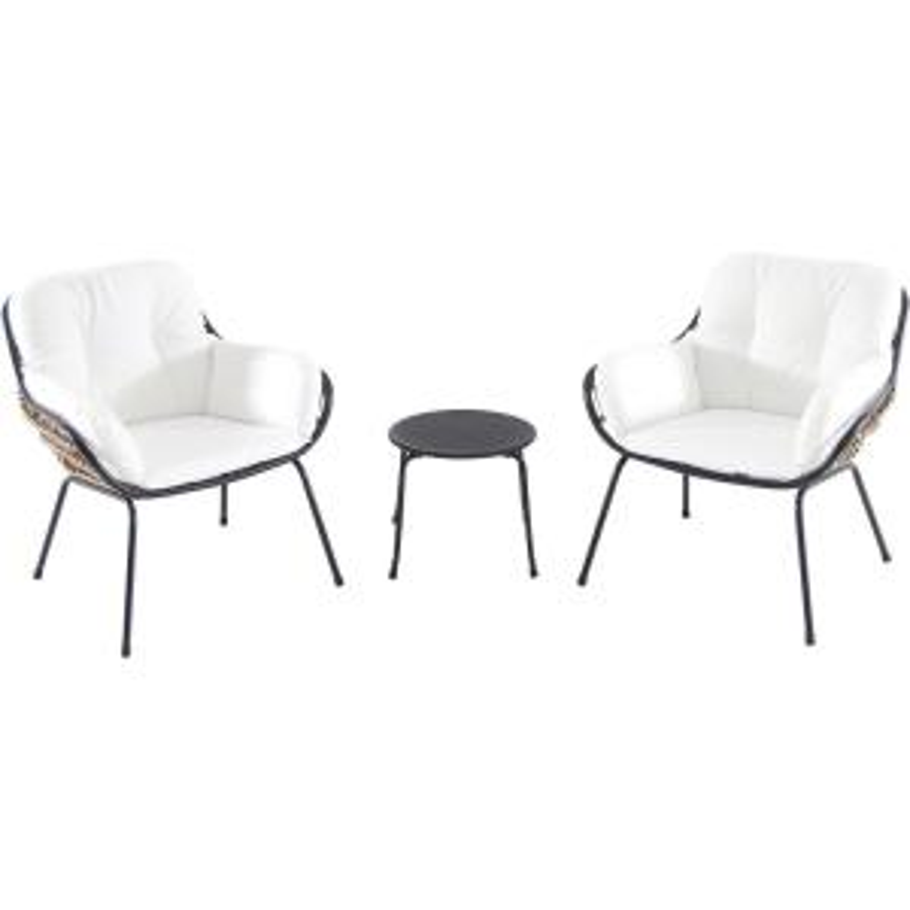 Naya 3-Piece Wicker Conversation Set with White Cushions