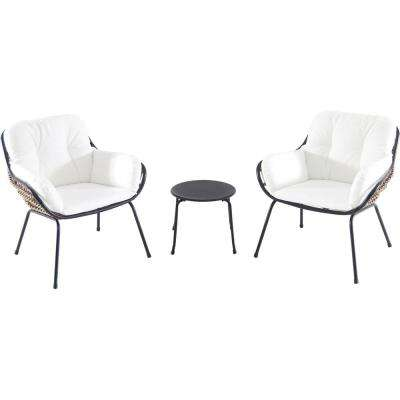 Naya 3-Piece Wicker Conversation Set with White Cushions