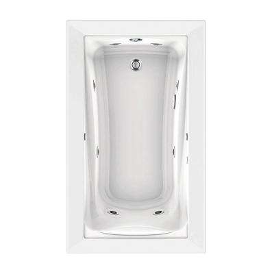 Green Tea 60 in. x 36 in. Reversible Drain EcoSilent EverClean Whirlpool Tub in White