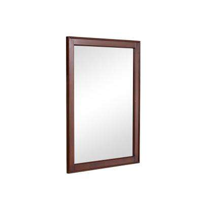 Wagner 24 in. Traditional Mirror with Walnut MDF Frame, Rectangle Shape, Mounting Type: Metal Inset Hanger