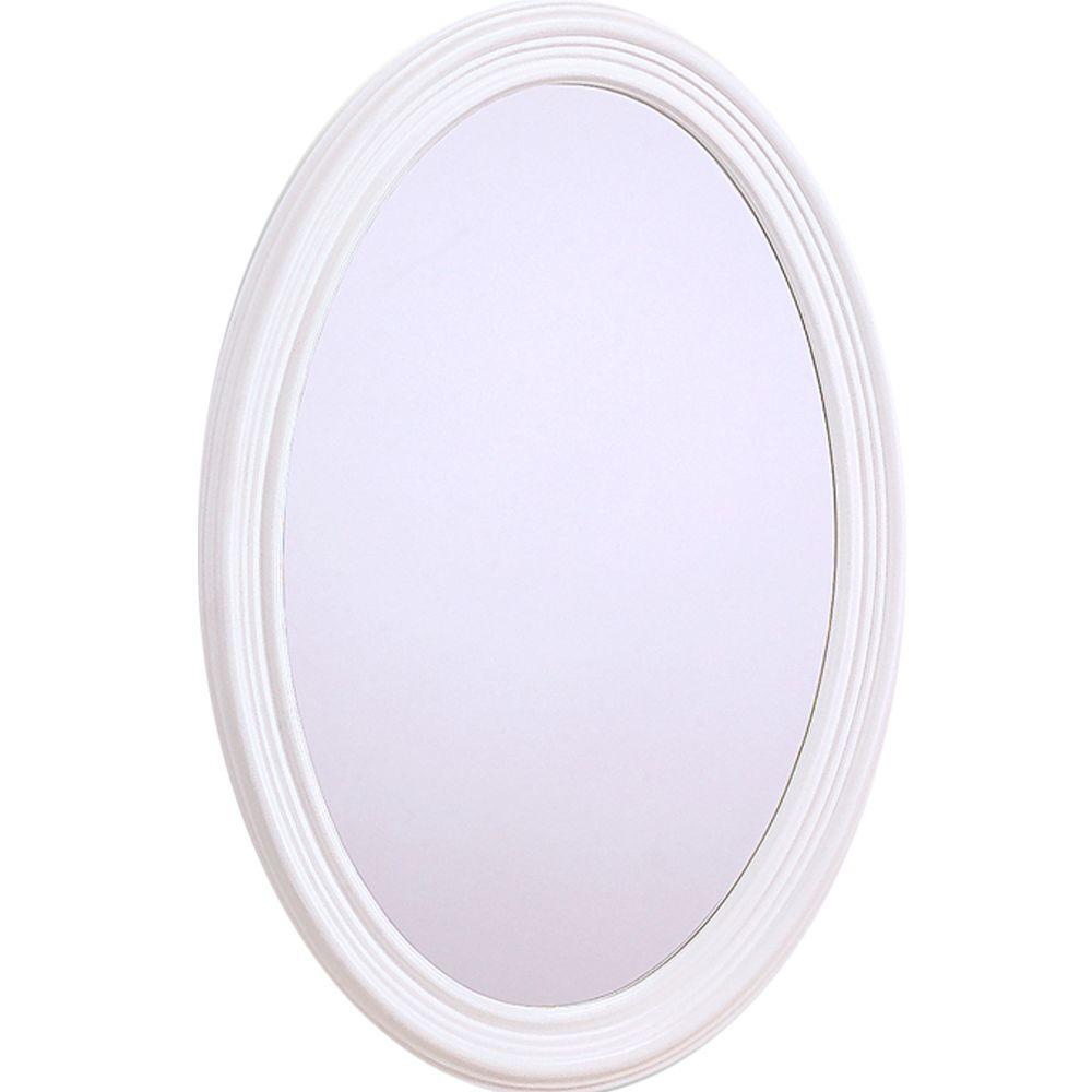 Glacier Bay Napoli 31 in. x 21 in. Oval Mirror in White