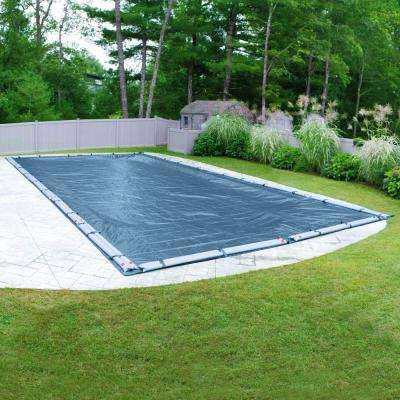 Super 25 ft. x 50 ft. Pool Size Rectangular Imperial Blue Solid In-Ground Winter Pool Cover