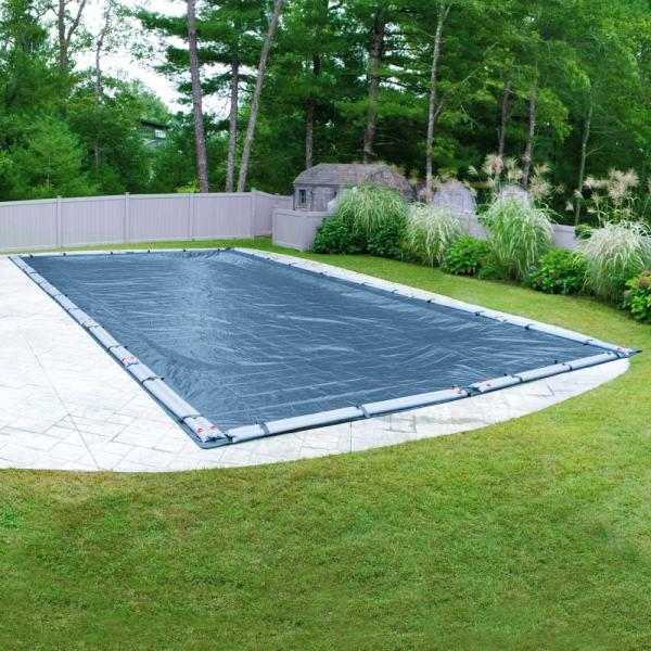 Super 30 ft. x 60 ft. Rectangular Imperial Blue Solid In-Ground Winter Pool Cover