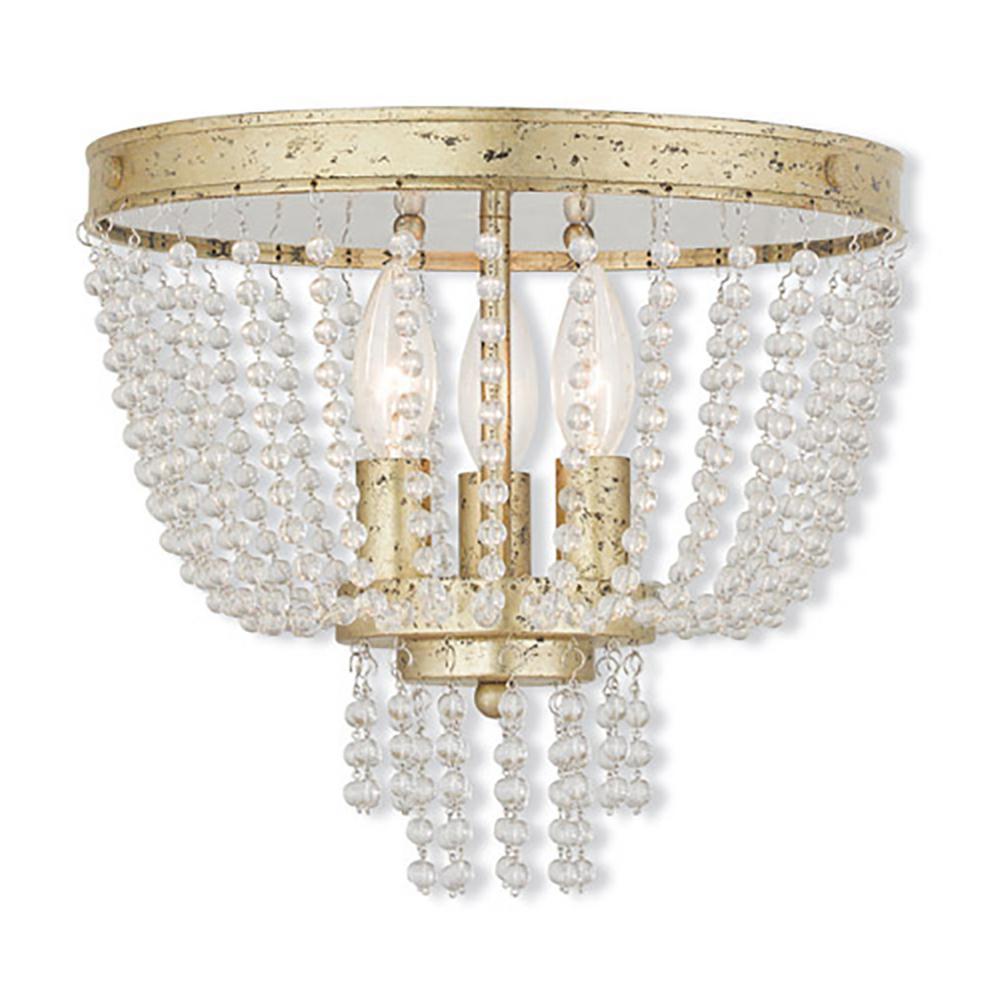 Livex Lighting Valentina 3 Light Winter Gold Flush Mount