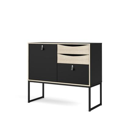 Stubbe Black Matte/Oak Structure One Door Sideboard with 3-Drawers