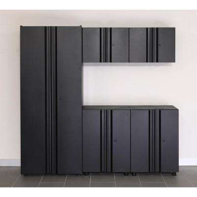 Welded 78 in. W x 75 in. H x 19 in. D Steel Garage Cabinet Set in Black (5-Piece)