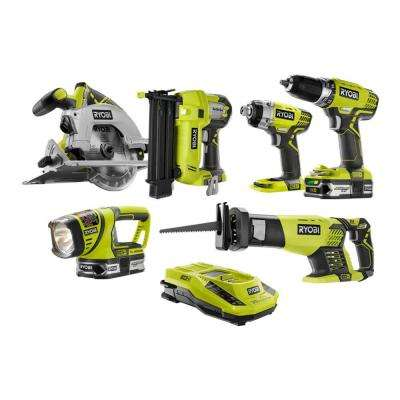 18-Volt ONE+ Lithium-Ion Cordless Combo Kit with Brad Nailer (6-Tool)