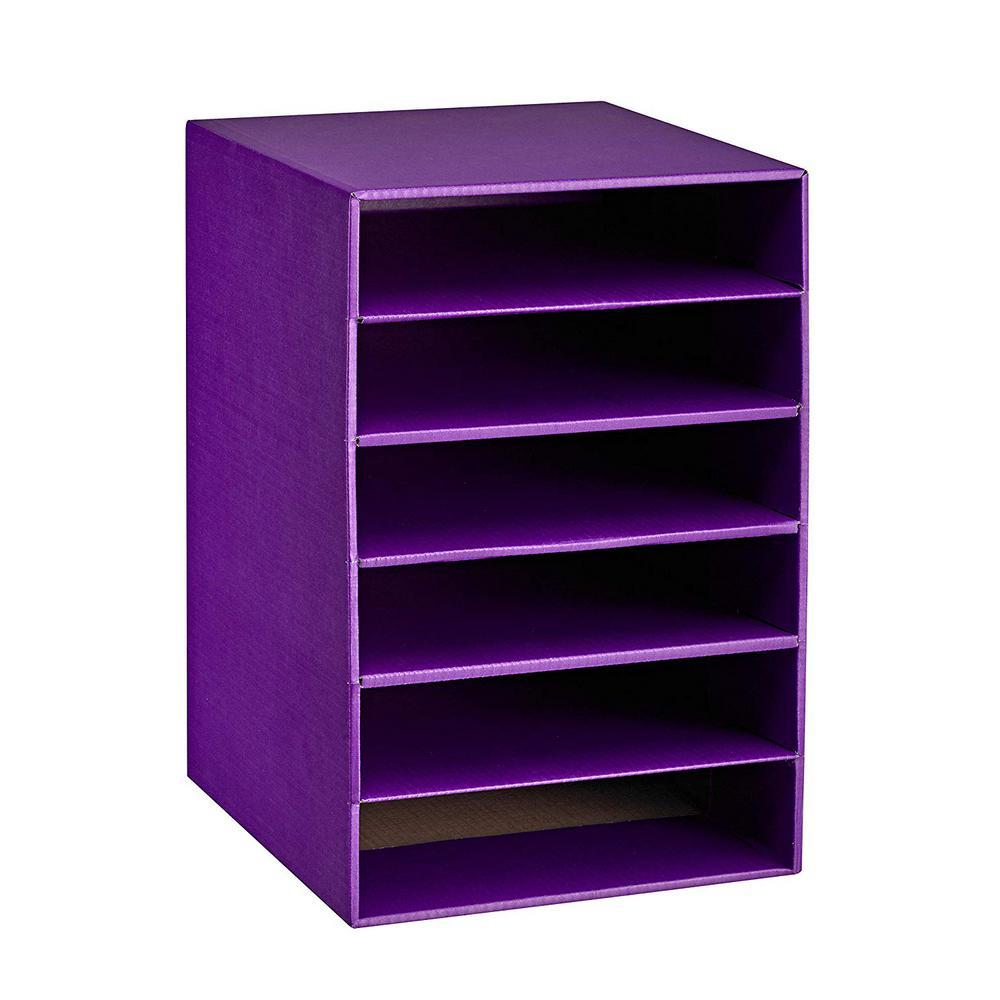 6 Tier Purple Corrugated Cardboard Desk File Organzier