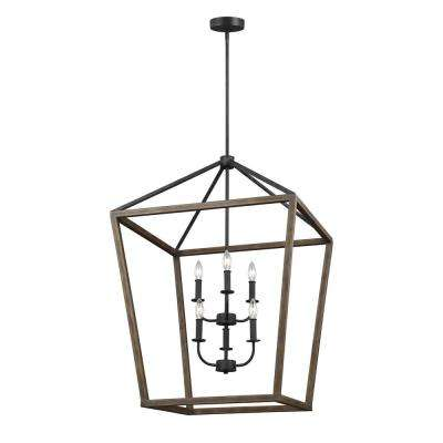 Gannet 6-Light Weathered Oak Wood and Antique Forged Iron Chandelier