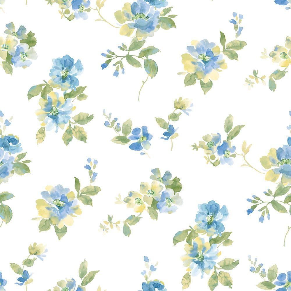 Chesapeake Captiva Blue Watercolor Floral Wallpaper Sample