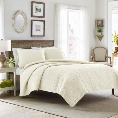 Felicity 3-Piece Ivory Full/Queen Quilt Set