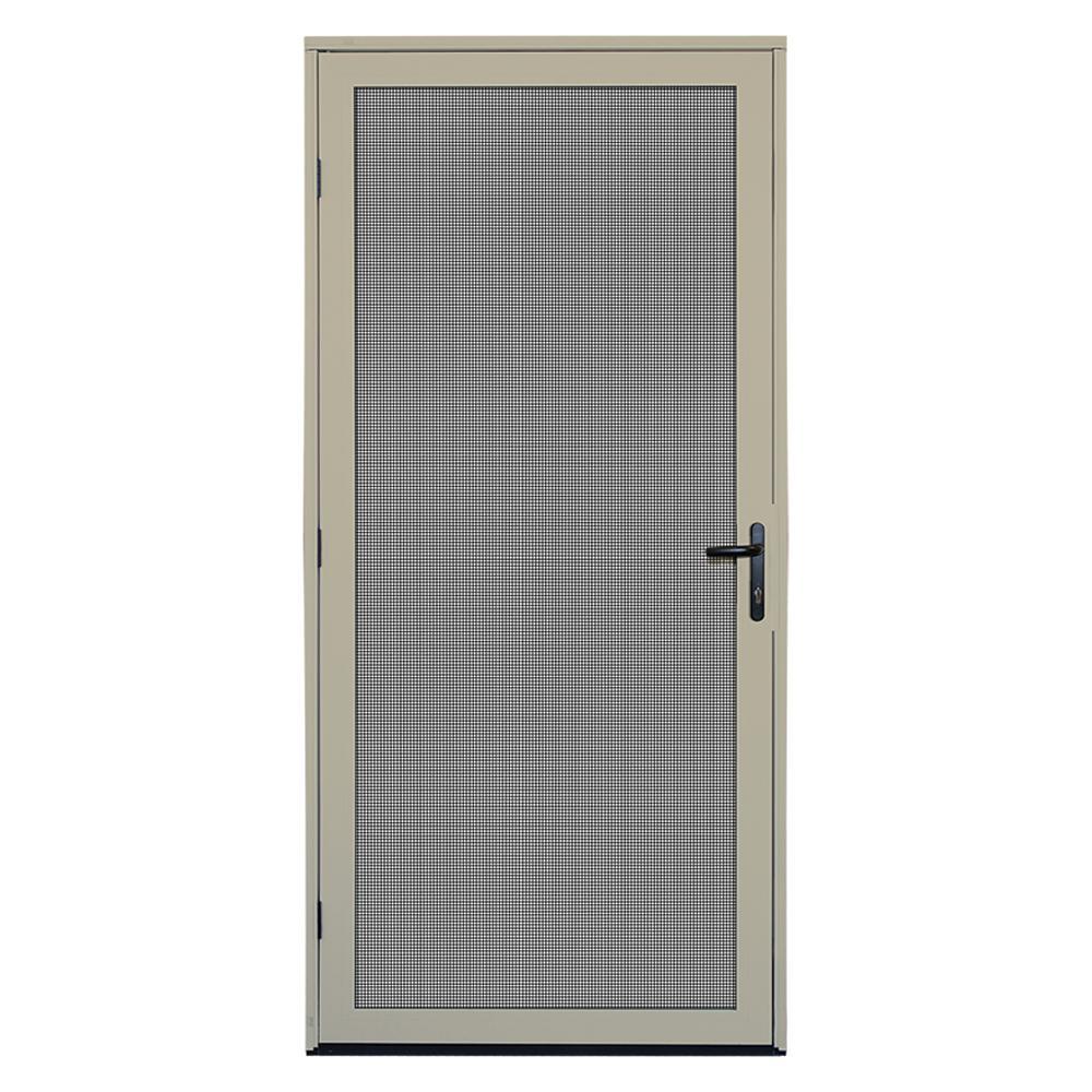 Unique home designs 36 in x 80 in almond surface mount meshtec ultimate screen door - Meshtec screen door ...