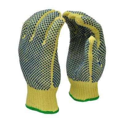 Cut Resistant 100% Kevlar Large Gloves with PVC Dots on Both Sides 1-Pair