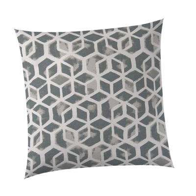Grey Cubed Outdoor Square Throw Pillow