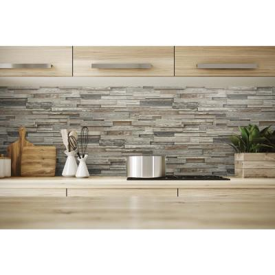 Reclaimed Wood Plank Charcoal & Brown Vinyl Peelable Roll (Covers 30.75 sq. ft.)