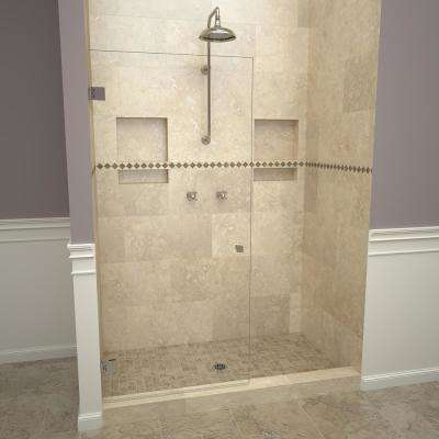 2300V Series 78 in. W x 76 in. H Frameless Pivot Shower Door in Polished Chrome with Knobs