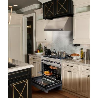 Entree Bundle 30 in. 4.5 cu. ft. Pro-Style Gas Range with Convection Oven and Range Hood in Stainless Steel and Gold
