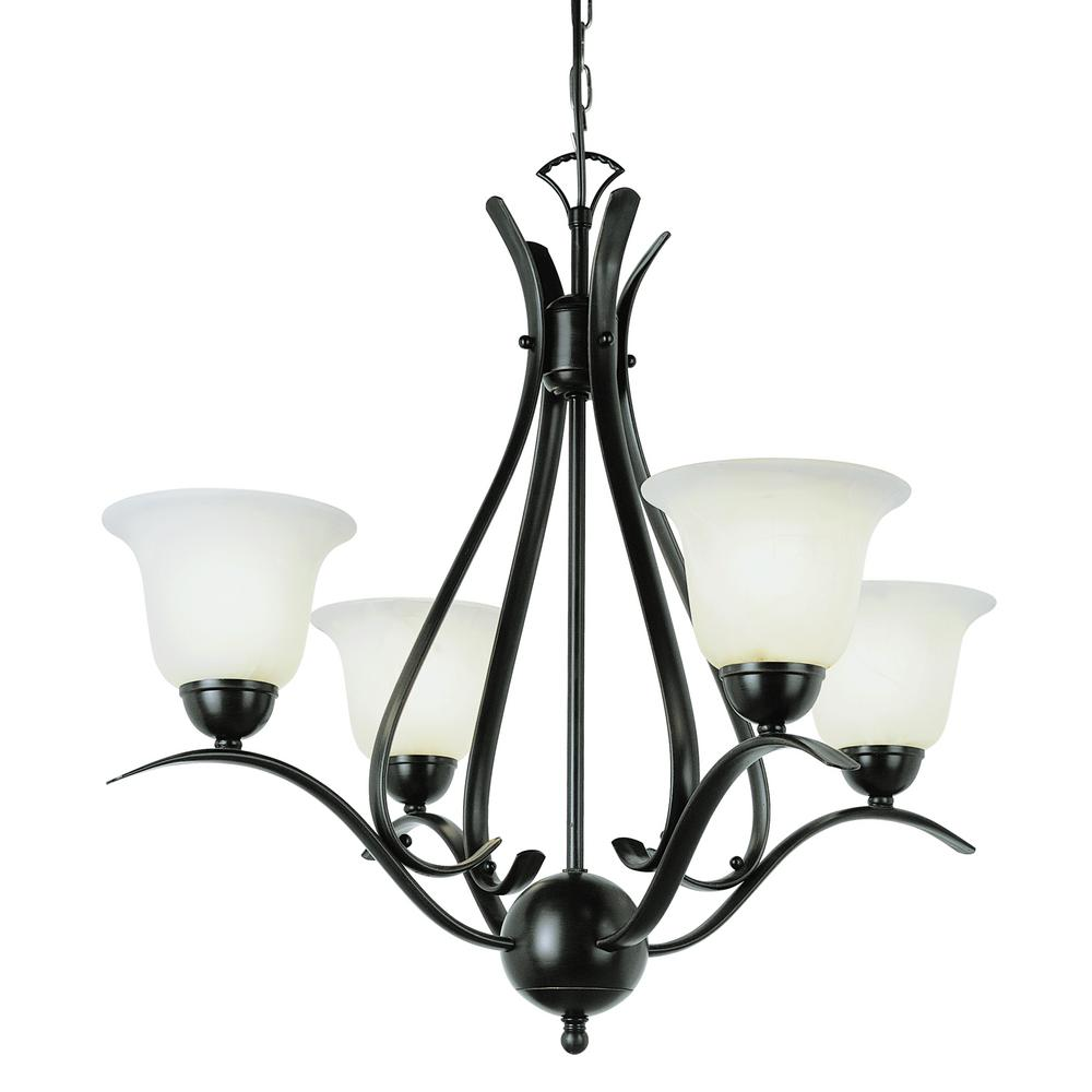 Stewart 4-Light Rubbed Oil Bronze Chandelier with Marbleized Glass Shades