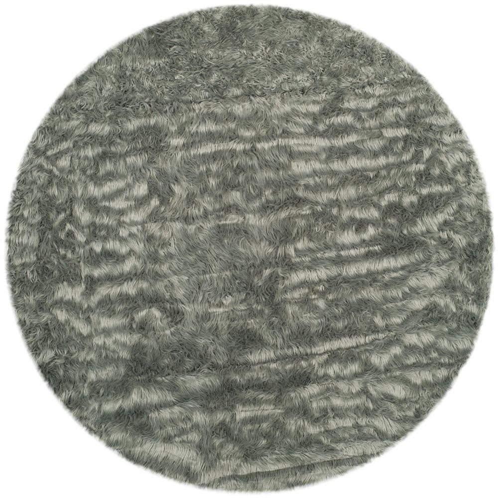 Safavieh Faux Sheepskin Gray 4 Ft X Round Area Rug