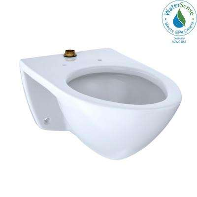 Flushometer 1.0 GPF Wall-Mounted Urinal with Top Spud and CeFiONtect in Cotton White