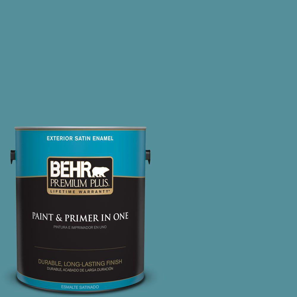 1 gal. #HDC-AC-23A Cabana Blue Satin Enamel Exterior Paint
