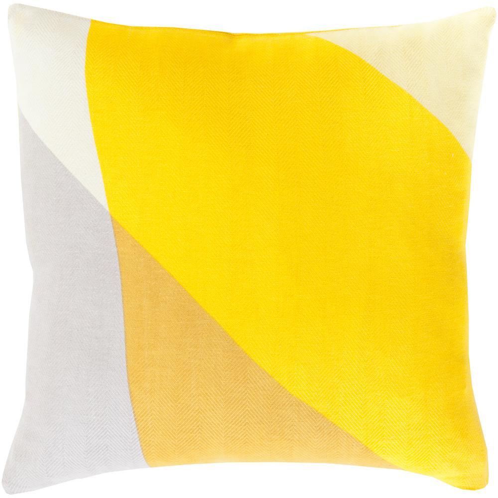 Ixelles Yellow Geometric Polyester 20 in. x 20 in. Throw Pillow
